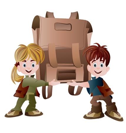 mochila escolar: una niña y un niño de la escuela la celebración de la bolsa