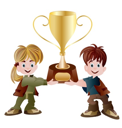 una niña y un niño sosteniendo el trofeo Vectores