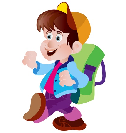 1 school bag: Cute boy on his way to school  Illustration