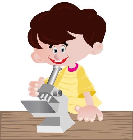drug discovery: illustrazioni a colori ful di un ragazzo looing all'interno microscopio