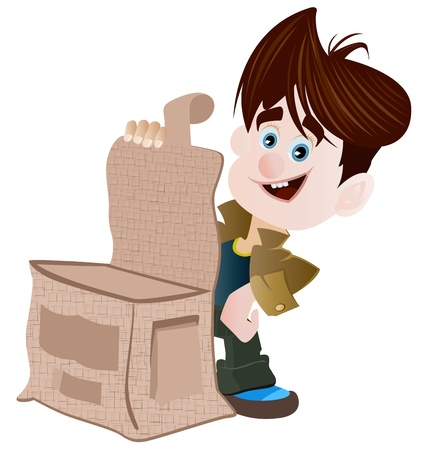 out of a box: A cartoon boy is happy after opening a  box. Illustration