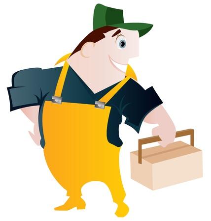 especialistas: constructor de dibujos animados, la prestaci�n de servicios en la reparaci�n y construcci�n Vectores