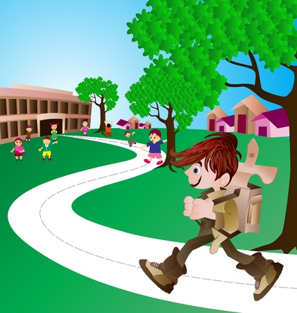 go: cute boy on his way to school Illustration