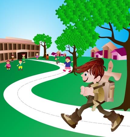 school play: cute boy on his way to school Illustration