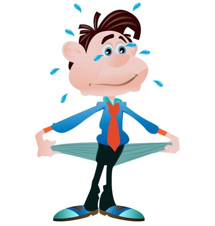 pauvre: homme d'affaires sans un sou montrant ses poches vides