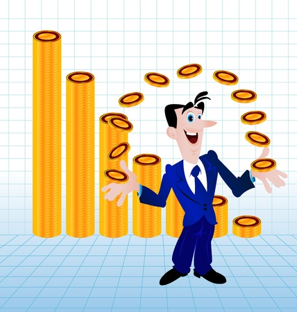 illustration of one business man and money Vector