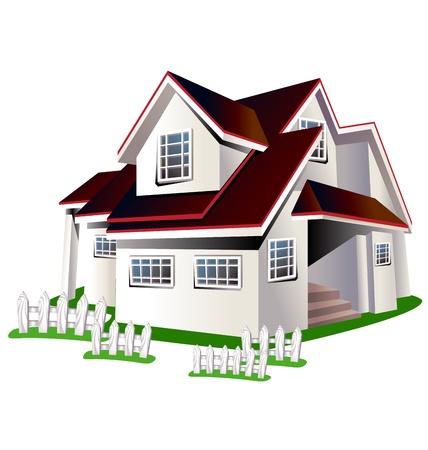 Karikaturillustration bunte Haus auf einem weißen Hintergrund