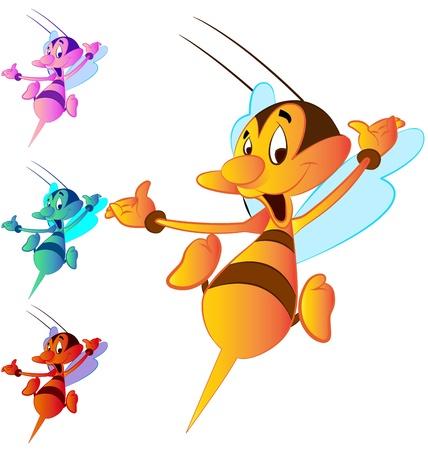 avispa: abeja de dibujos animados en volar sobre fondo blanco