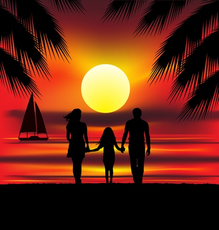 colourful illustration of family on sunset Vector