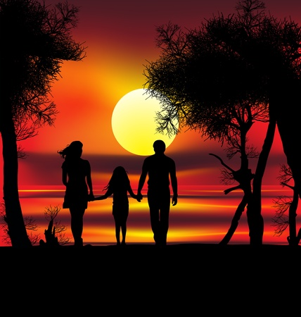 hands in the air: colourful illustration of family on sunset