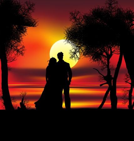 siluetas de enamorados: Dos amantes en la playa con puesta de sol tropical, palmeras, mar y la isla detrás de ellos