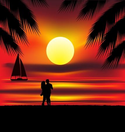 Dos amantes en la playa con puesta de sol tropical, palmeras, mar y la isla detrás de ellos Ilustración de vector