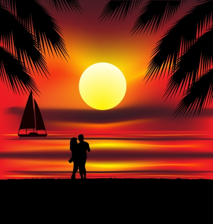 paradise beach: Two lovers on the beach with tropical sunset, palms, sea and island behind them