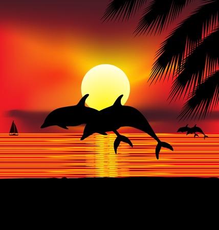 ballena azul: Ilustraci�n de dos delfines en el Oc�ano