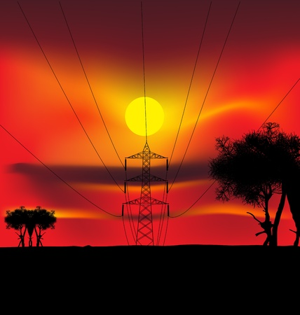 illustration of high voltage power lines Vector