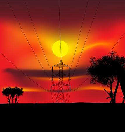 torres de alta tension: ilustración de líneas de alta tensión