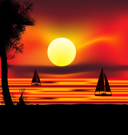 Schöne afrikanische Sonnenaufgang reflektierte auf See, mit hinterleuchteten Akazie Baum auf Amboseli Natürliche Par