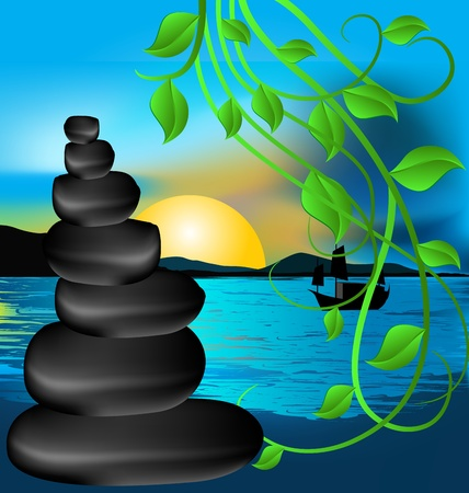 meditation stones: illustration of spa therapy lava stones and blue sea Illustration