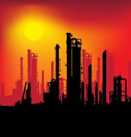 refinería de petróleo: ilustración de la planta de refinería y la salida del sol Vectores