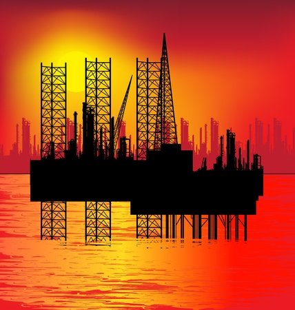 Oil rig in sea and sunrise,  illustration Vector