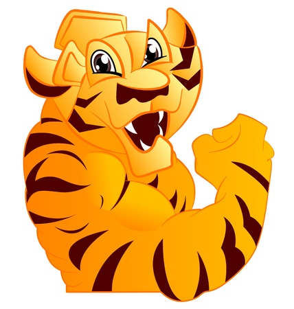 Tiger Mascot Body with Paws and Claws Vector
