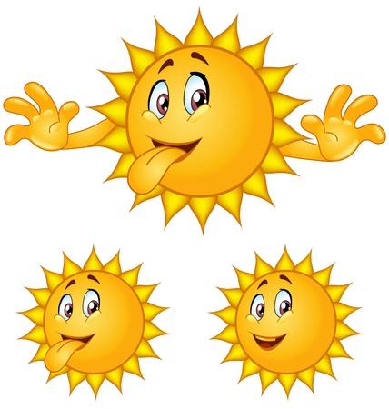 sol caricatura: El sol en la impresi�n de cara saca la lengua Vectores