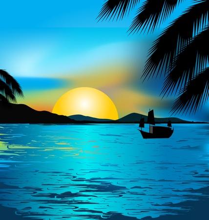 Mooie Zonsondergang en golven aan de kust Vector Illustratie