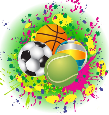 Set of Sport Balls with blazing pattern Vector