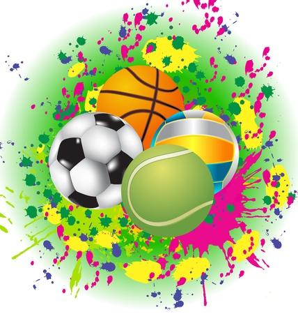 symbol sport: Set Sport Balls mit lodernden Muster