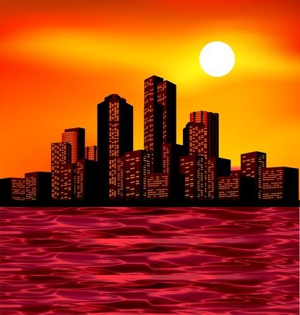Ciudad de la noche con las luces de paisaje y el horizonte Ilustración de vector