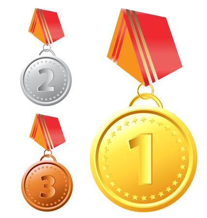 conquistando: Conjunto de medallas de oro, plata y bronce con cinta