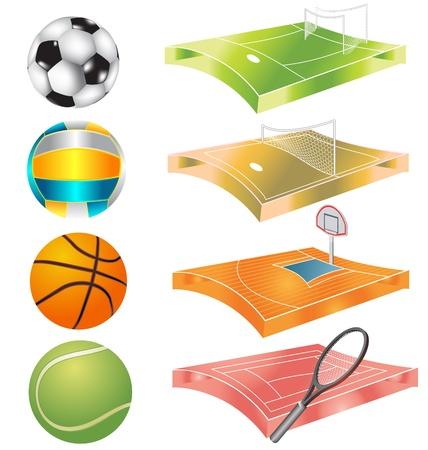 football, basketball, volleyball, tennis field and stadium Vector
