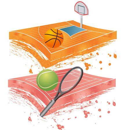 colorful illustration of basketball, tennis field and stadium Vector