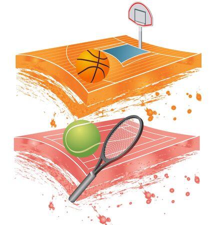 tennis stadium: ilustraci�n colorida de tenis de campo de baloncesto, y el estadio