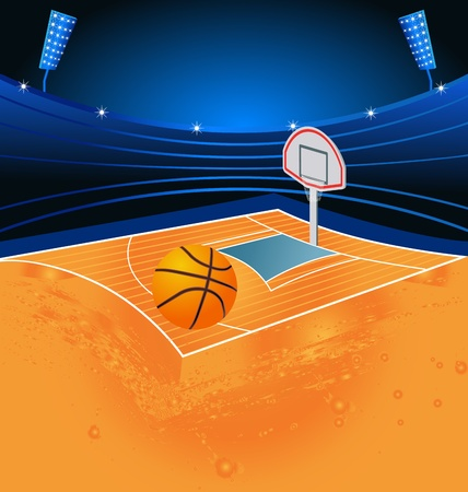colorful illustration of basketball field and stadium Illustration