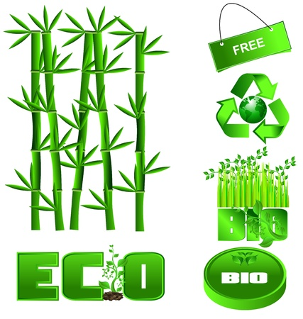 colorful set of green ecology icons on a white backgroun Vector