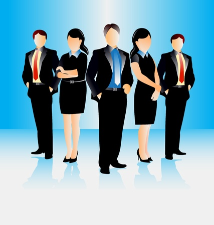 successful: colorful illustration of young attractive business people
