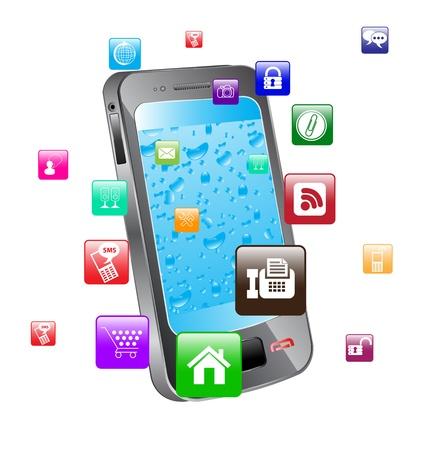 gadget: illustration color�e du communicateur Concept avec des ic�nes app