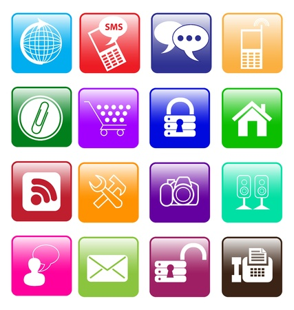 illustration of Button with computer, mobile and other icons Vector