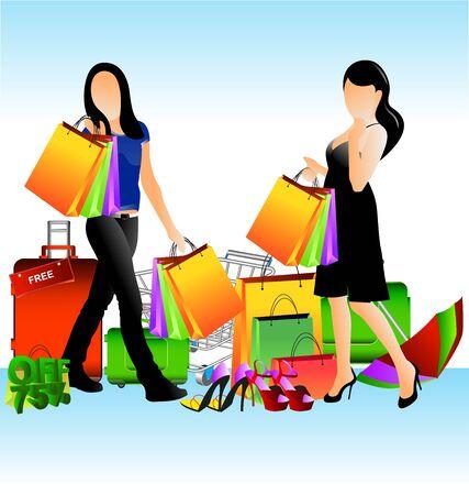 dangle: illustrazione in vendita colorata e ragazze che camminano