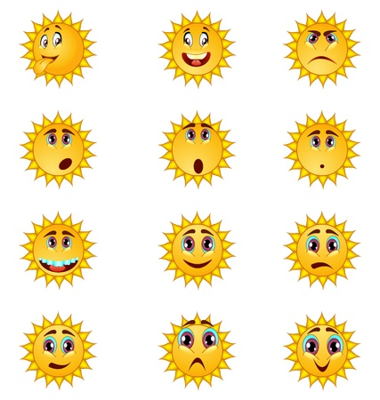 cartoon sun smiley illustration set Vector
