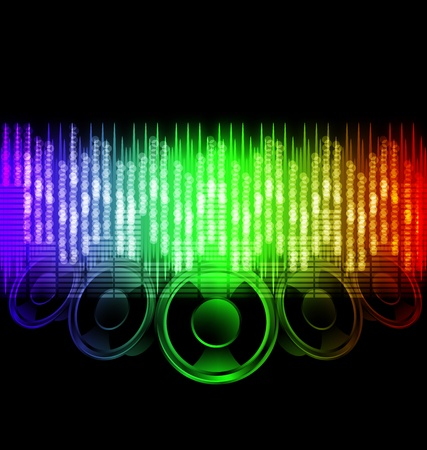 r image: Pulso del espectro de color con ilustraciones vectoriales Notas musicales originales
