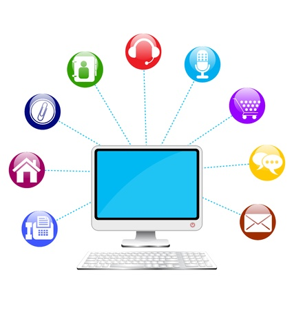 illustration of computer with keyboard and icons Vector