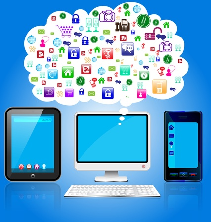 illustration of tablet pc and mobile for technology concept purpose