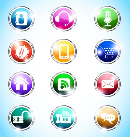 colourfull: illustration of colourfull mobile glossy icons Illustration
