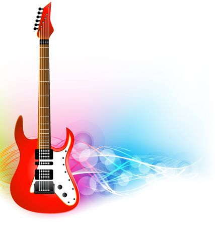 ful: color ful illustration of guitar with colorful background