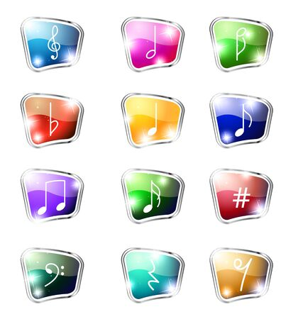 12 lighting music icons on a white background Stock Vector - 11161851