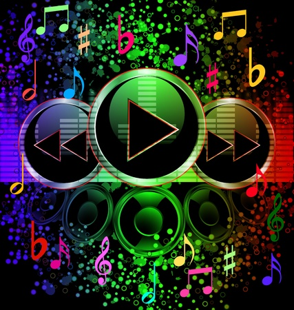 soul music: Color Spectrum Pulse with Musical Notes Original Vector Illustration