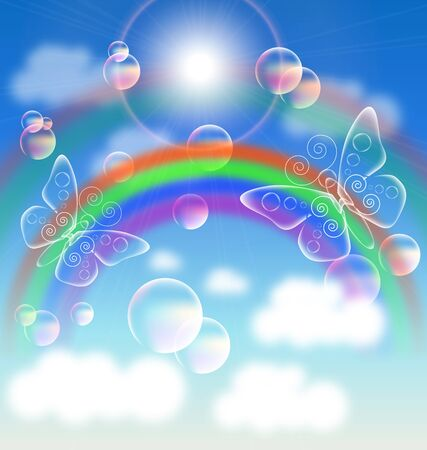 Colorful illustration of Rainbow in the sky . gradient mesh and blur effect used in artwork Vector