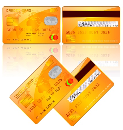 debit: illustration of credit cards, front and back view